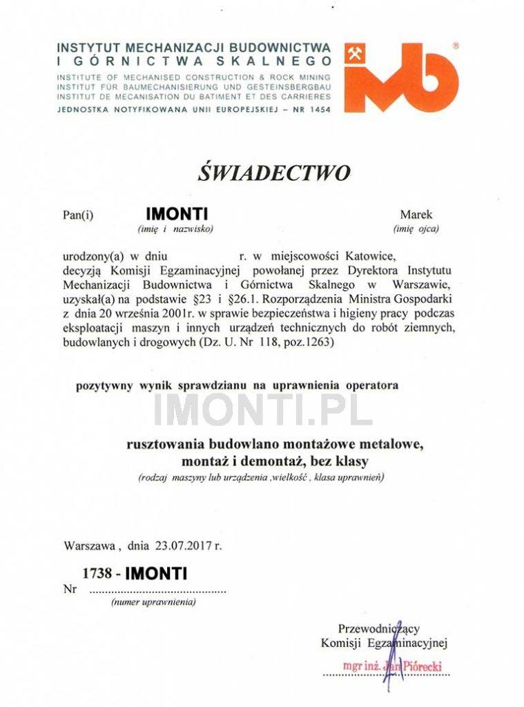 uprawnienia i certyfikaty: montażysta rusztowań