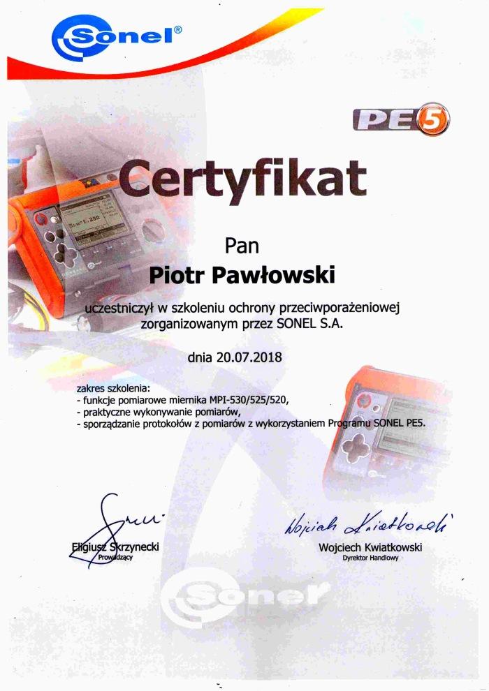 certyfikat ze szkolenia Sonel